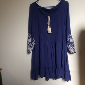 Blue Dress White Embroidery